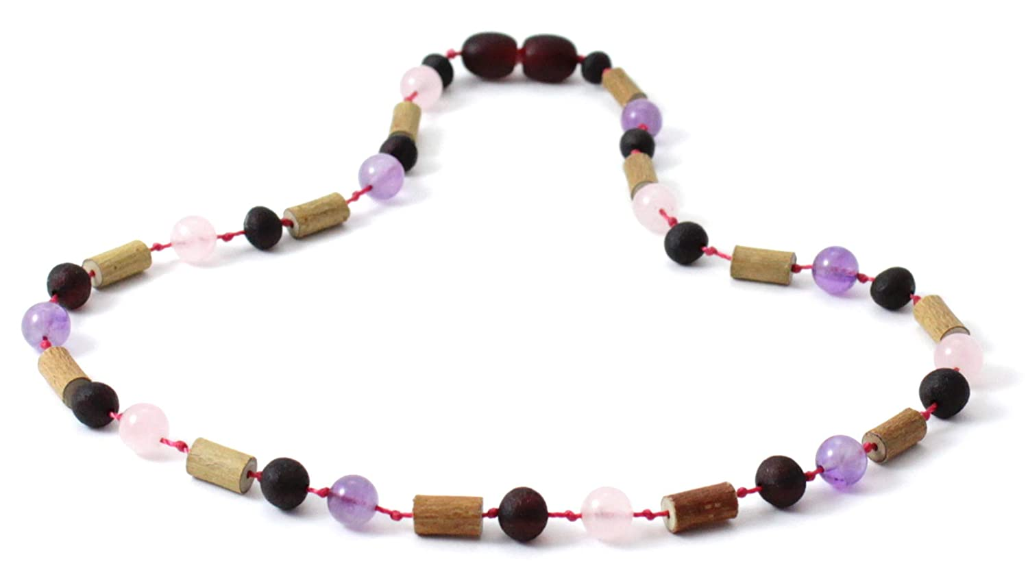 12.5 inches - BoutiqueAmber Baltic Amber Teething Necklace Made with Hazelwood and Amethyst 32 cm Green//Amethyst//Hazelwood, 12.5 inches