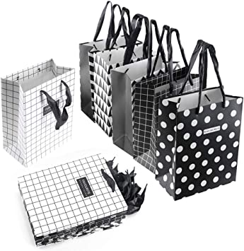 HO2NLE Bolsa Papel Kraft Mediana 12Pcs Bolsas de Regalo Medianas Blanco y Negro en 6 Diseños 18 X 23 x 10 cm con Asa de Seda Bodas Cumpleaños Navidad Halloween Fiesta: Amazon.es: