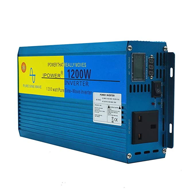 Yinleader Inversor De Corriente Onda Sinusoidal Pura 1200W 2400W Transformador De 12v A 230v, Inversor con 1 zócalo del Reino Unido Y LCD para Coche ...
