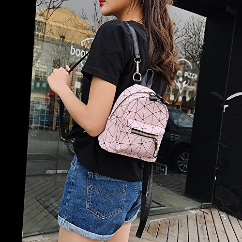 Black Zipper Girls PU Bags Domybest Pink Backpacks Geometry Small Leather Women Shoulder wfxFHpnx