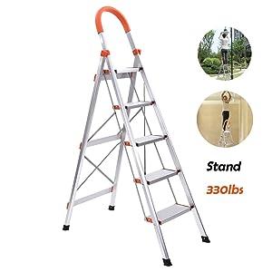 5-Step Stool Ladder Portable Folding Anti-Slip with Rubber Hand Grip 330lbs Capacity,Aluminum Lightweight Stepladders,jujunshangmao Silver Home Ladder (Orange)