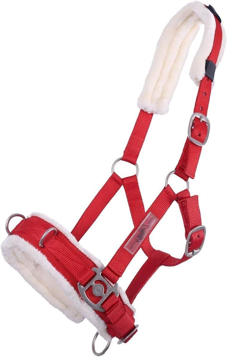 QHP William Hunter Equestrian - Brida para caballo (piel sintética, 3 anillas en forma de D de acero inoxidable), color rojo