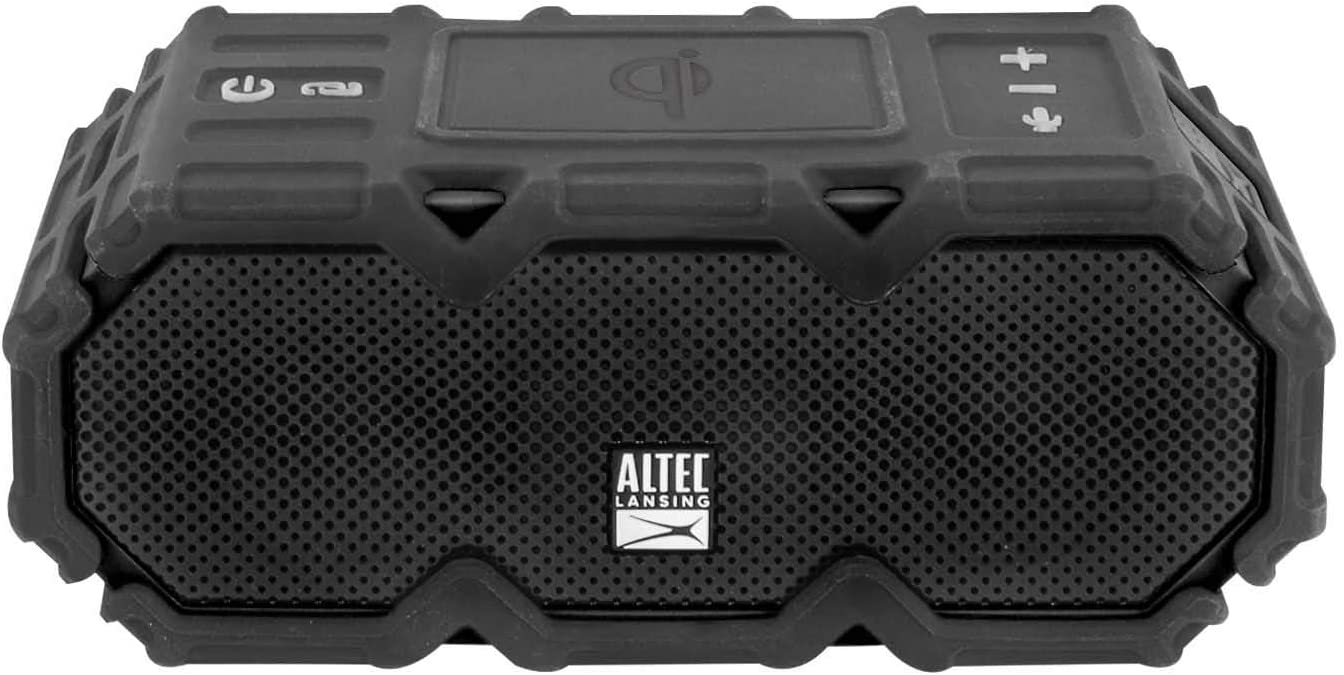 Altec Lansing Super LifeJacket Jolt with Lights Built in Qi Wireless Charger Snowproof Up to 30 Hour Battery Life Waterproof Shockproof and it Floats in Water Blue