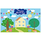 Allenjoy 5x3ft Happy Birthday Party Backdrop Favors Cartoon House Trees Street Sky Flags Props Photography Baby Shower Kids Boys Prince Celebration Photo Booth Studio Props Banner Decorations Supplies