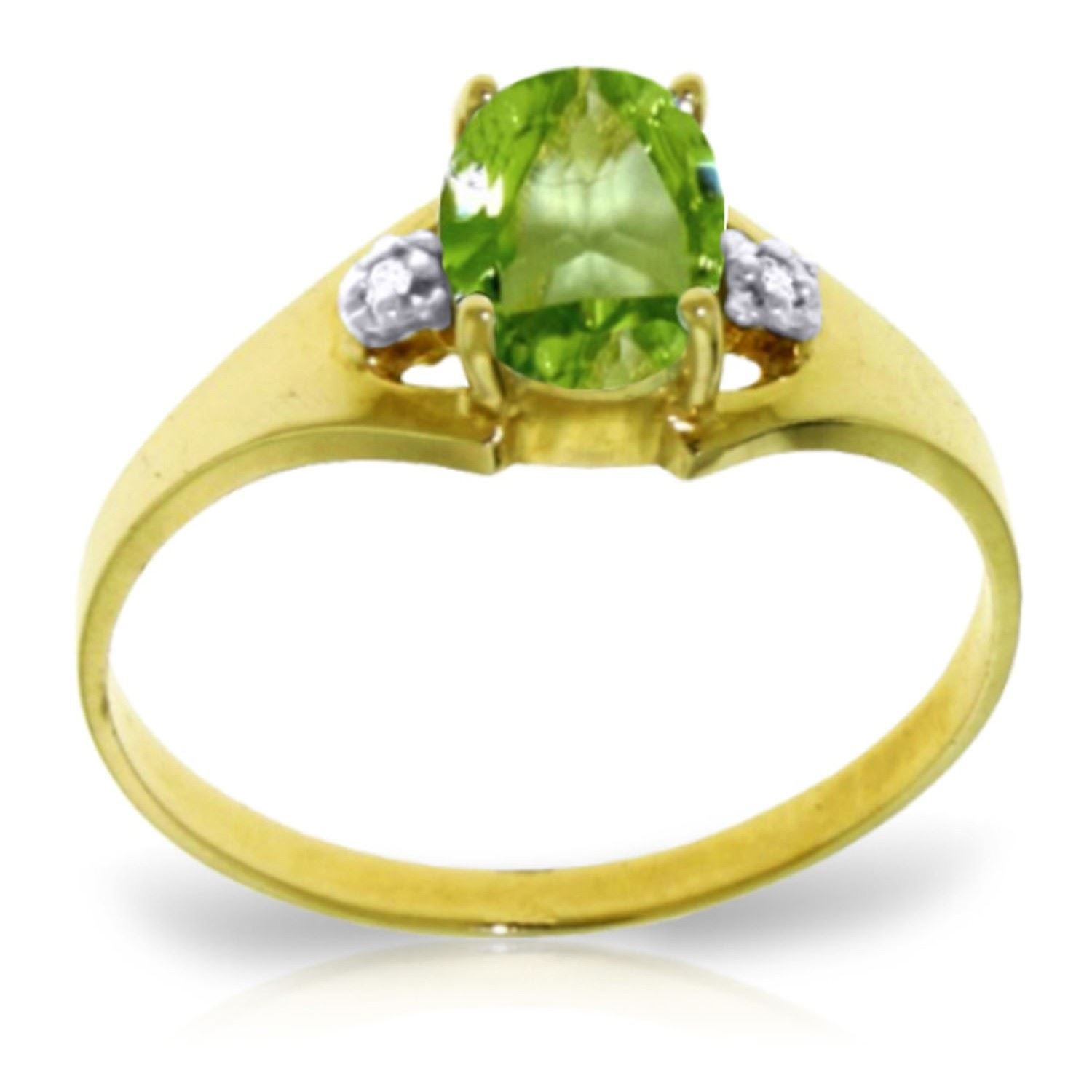 ALARRI 0.76 CTW 14K Solid Gold Motions Of Love Peridot Diamond Ring With Ring Size 8