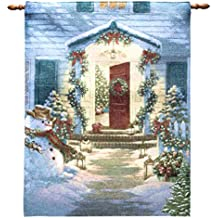Arelux Novelty Christmas Wall Tapestry | Traditional Christmas Wall Hanging | 36 x 26-inch Fiber-Optic Wall Hanging | Twinkle Light Your Way Home Embroidery Wall Decor | Xmas Party Decoration