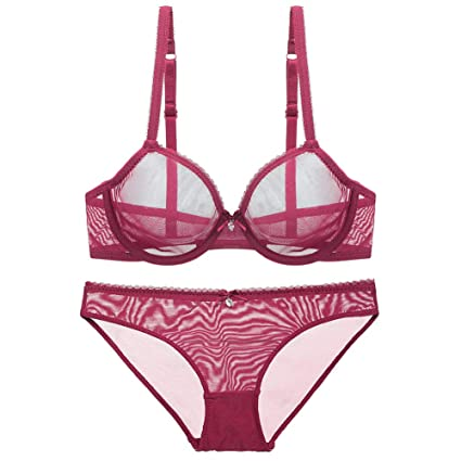 c87fb7f3ef5e0 See Through Lace Underwire Sheer Push up Transparent Everyday Bra Lingerie  Set Women s Sexy Lingerie Breathable
