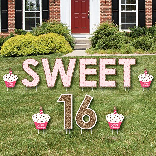 Sweet 16 – Yard Sign Outdoor Lawn Decorations – Happy Birthday Yard Signs