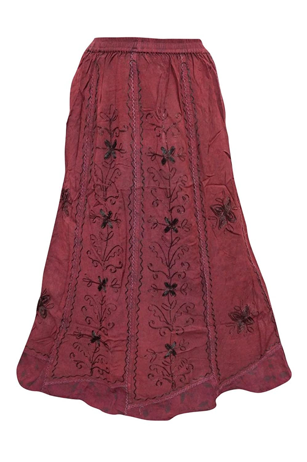 Mogul Interior Womens Maxi Skirt Embroidered Maroon Stonewashed Long Gypsy S/M/L