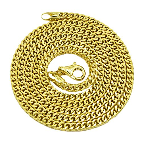 IcedTime 10K Yellow Gold FRANCO Hollow Chain 3MM Wide (26 inch)