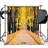 Autumn Backdrop 10x10ft Beautiful Natural Scenic Photography Background with Wood Floor Children Backdrop 10748