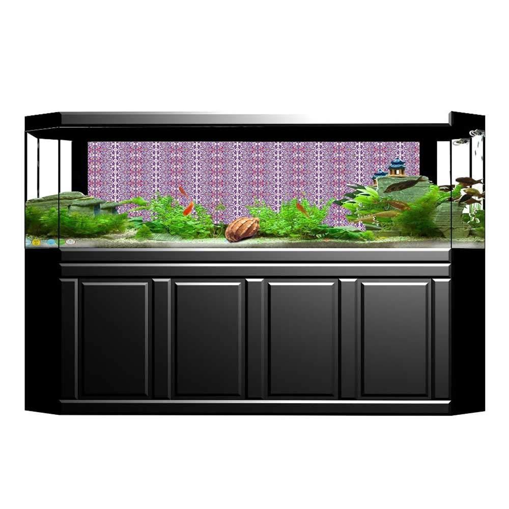 color10 L35.4\ color10 L35.4\ Jiahong Pan 3D Aquarium Background Oriental Motifs Tile Design Repeating White Pink Fish Tank Wall Decorations Sticker L35.4 x H19.6