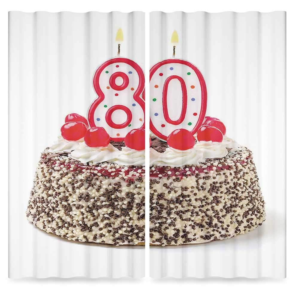 80th Birthday Decorations Living Room Curtains,Birthday Party Cake with Cherries Sprinkles and Candles Image,Living Room Bedroom Curtain, 2 Panel Set, 28W X 39L Inches