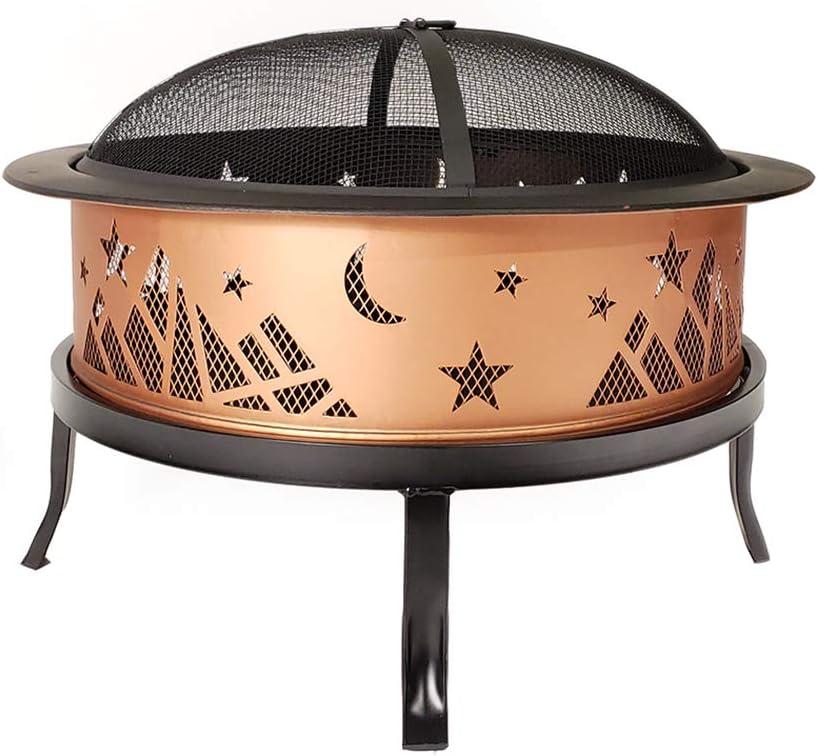 Catalina Creations AD366 26 Round Copper Colored Accented Cauldron, Black