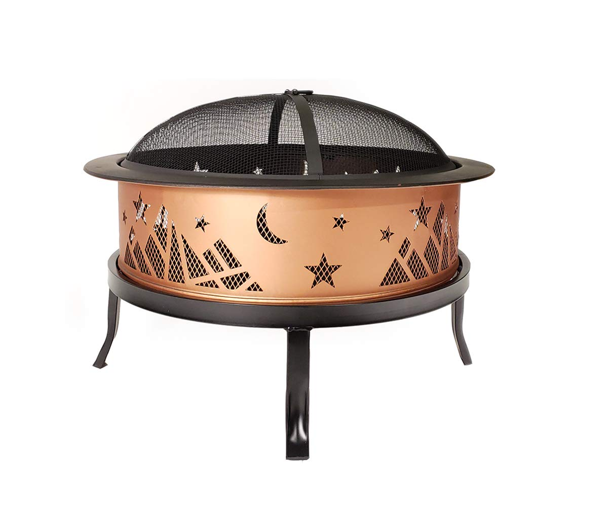 Catalina Creations AD366 26 Round Copper Colored Accented Cauldron, Black