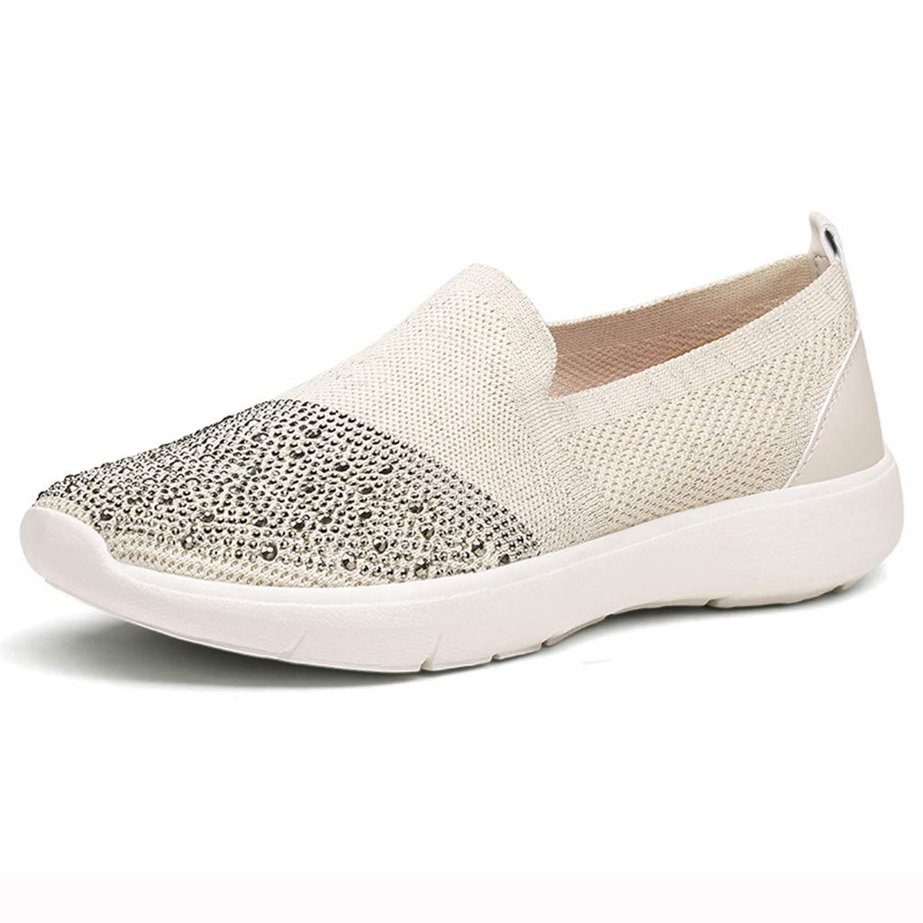 Fashion Respctful ♫♫Womens Casual Walking Canvas Sneaker Shoes Slip On Comfort Flats Sneakers Beige