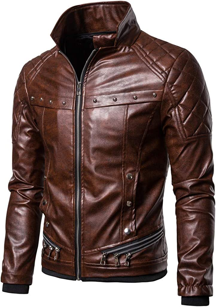 BiuBuy Mens Leather Vintage Steam Pocket Zipper Fur Collar Punk Gothic Retro Motorcycle Jacket Coat
