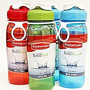 Rubbermaid Refill, Reuse 20-Ounce Chug Bottle, 1 Pack of 4 Assorted bottles