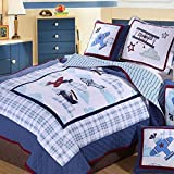 UFO Home 100% Cotton Quilt, 2pc Bedding Set, Applique Embroidery Little Airplane, For Kids or Single Man Woman, Twin Size(Twin, Little Airplane)