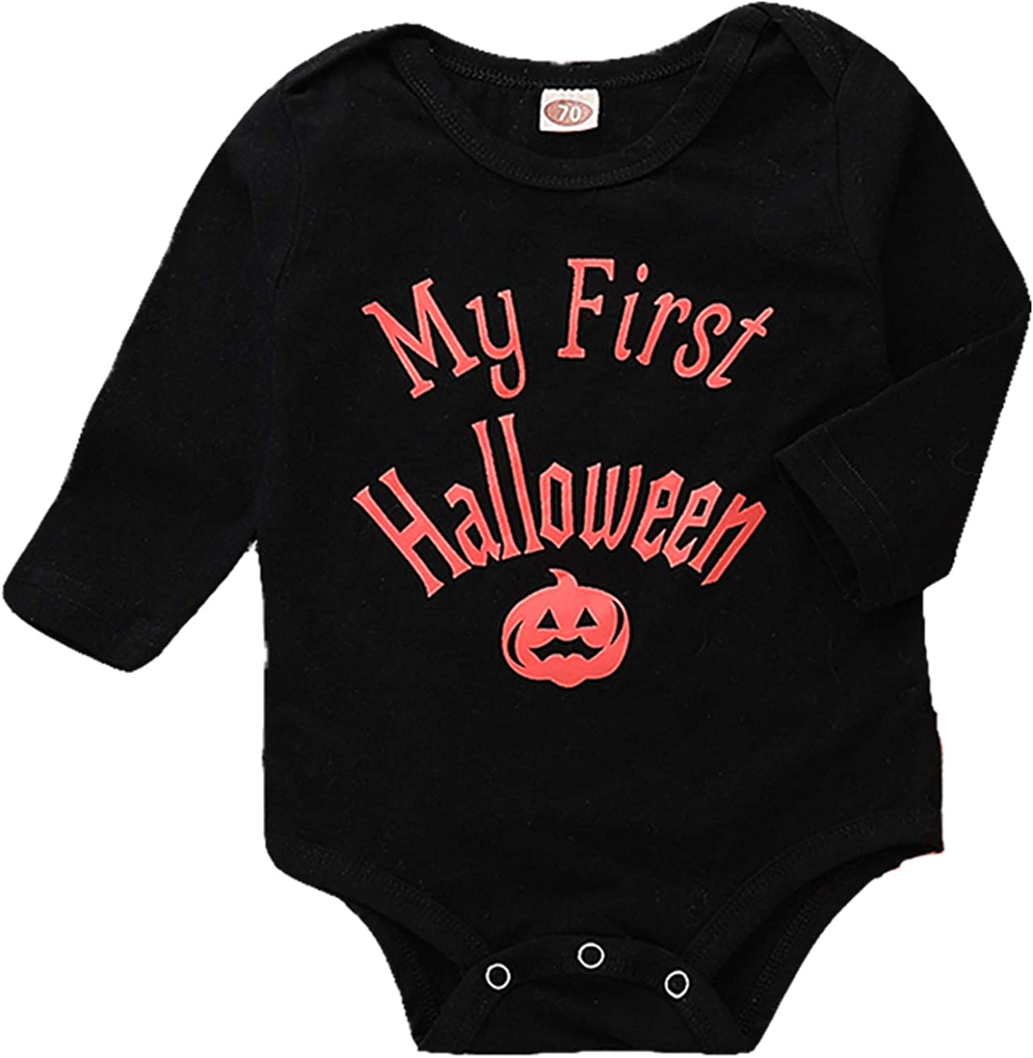Hifunbay Kids Baby Boy Girl First Halloween Pumpkin Hoodie Outfits Long Sleeve Romper 3PCS with Cute Hat for Party