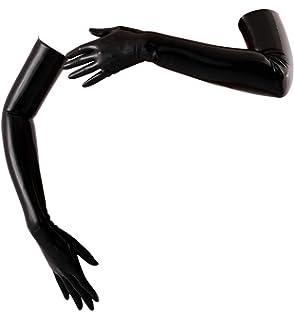 Elbow Length Chlorinated Latex Mid Gloves Black Fetish