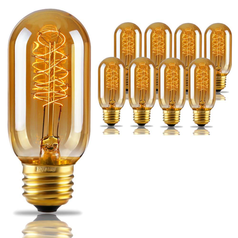Radio Tubular T45 (T14) Filament Vintage Light Bulb, Spiral Tungsten, Golden Tinted Glass, 2500K Sunrise White, E26 Base, Pendant, Chandelier, Lantern, Wall Scone TORCHSTAR HHTBT45-40W25-SPR