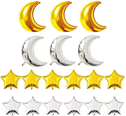 "30/"" Silver Crescent Moon Shape Mylar Foil Balloon Party Decorating Supplies"