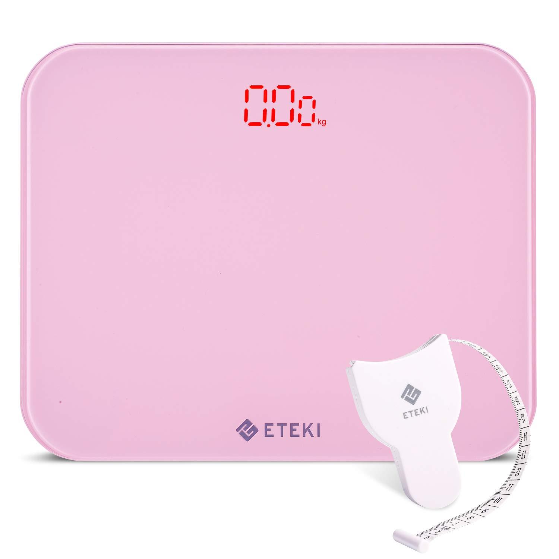 Eteki 体重計 デジタル ヘルスメーター おまけのメジャー付き 高精度のボディースケール 50g単位で3kgから180kgまで測定でき 乗るだけで電源ON 薄型で軽量収納しやすい EB4010J電子スケール(電池付属) (ピンク)