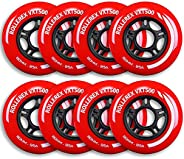Rollerex VXT500 Inline Skate Wheels (8 Wheels w/Bearings, spacers and washers) (Various Size & Color Optio