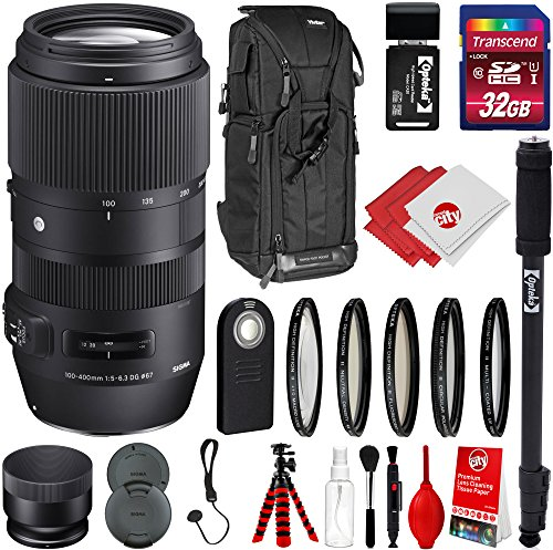 Sigma 100-400mm F5-6.3 DG OS HSM Contemporary Lens for Canon DSLR Cameras w/ 32gb Pro Photo and Travel Bundle