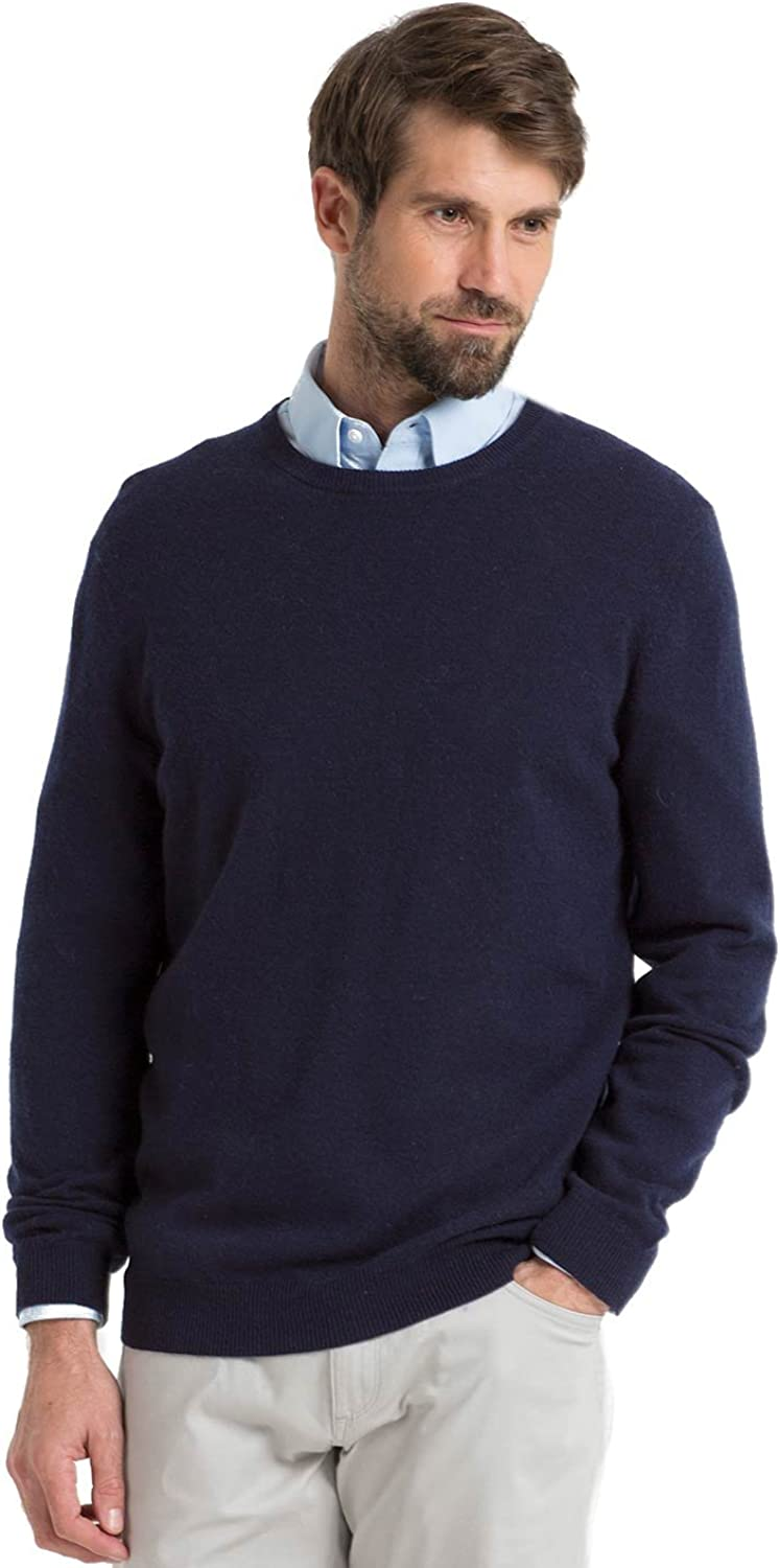 WoolOvers Mens Cashmere and Merino Crew Neck Knitted Jumper Navy, XXL
