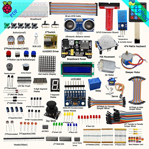 Adeept New Ultimate Starter Learning Kit for Raspberry Pi 3 2 Model B/B+ Python ADXL345 GPIO Cable DC Motor (Raspberry B Kit)
