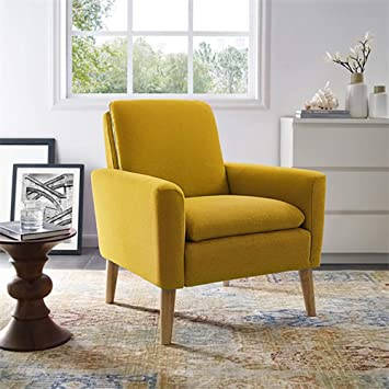 Lohoms Modern Accent Fabric Chair Single Sofa Comfy Upholstered Arm Chair  Living Room Furniture Mustard Yellow