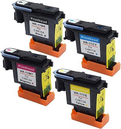 rightink Multipack cartuchos de tinta de repuesto para impresora HP11 BK C M Y cabezal de impresión para HP DesignJet 70 90 100 110 500 510 500PS 800PS 9110 K850: Amazon.es: Oficina y papelería