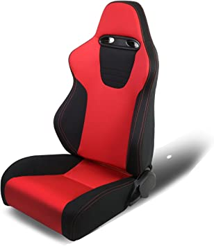 WOVEN CLOTH RECLINABLE RED//BLACK//CARBON LOOK RACING SEAT+SLIDER DRIVER LEFT SIDE