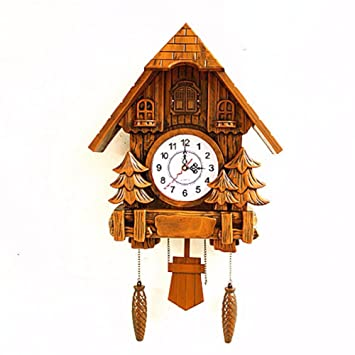 CNBBGJ Relojes europeos, retro reloj de cuco, salón silenciar el reloj de cuco, Decoración de pared,B: Amazon.es: Hogar
