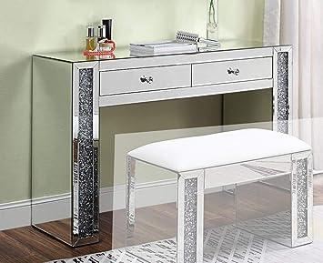 Amazon Com Acme Furniture Vanity Desk Mirrored Faux Diamonds
