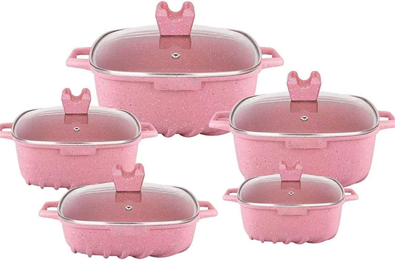 Pans for cooking Cookware Set Soup Pot Stew Pot Kitchen Cooking Pot Set Casserole Gas Stove Cooker NonStick Pan Aluminium Pot Steamer Saucepan,Blue (Color : Pink)