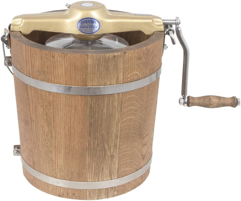 4 Qt Country Ice Cream Maker - Classic Wooden Tub - Hand Crank