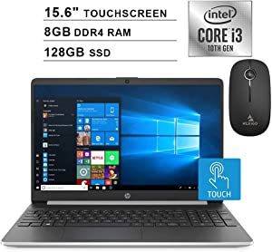 2020 HP Pavilion 15.6 Inch Touchscreen Laptop (Intel 2-Core i3-1005G1 (Beats i5-7200U), 8GB DDR4 RAM, 128GB SSD, WiFi, Bluetooth, Webcam, Windows 10 Home) + NexiGo Wireless Mouse Bundle