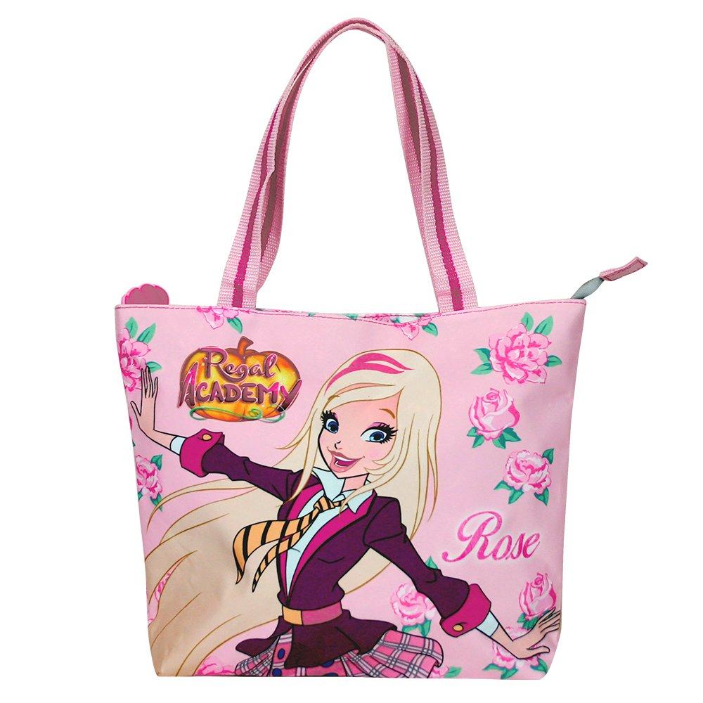 Bolso Tote de Ni/ña con estampado Rose de Regal Academy Bolsa Shopper de hombro con cierre superior de color rosa PERLETTI 25x33x8 cm