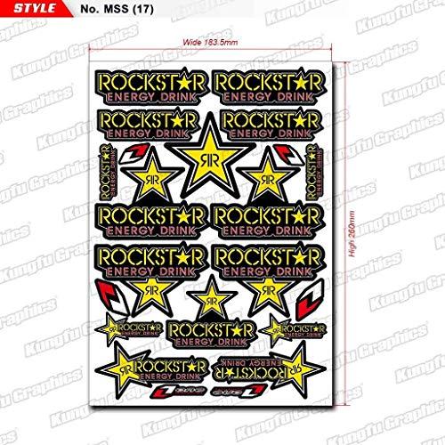 Kungfu Graphics Rockstar Energy Drink Micro Sponsor Logo Racing Sticker Sheet Universal (7.2x 10.2 inch), Yellow Green