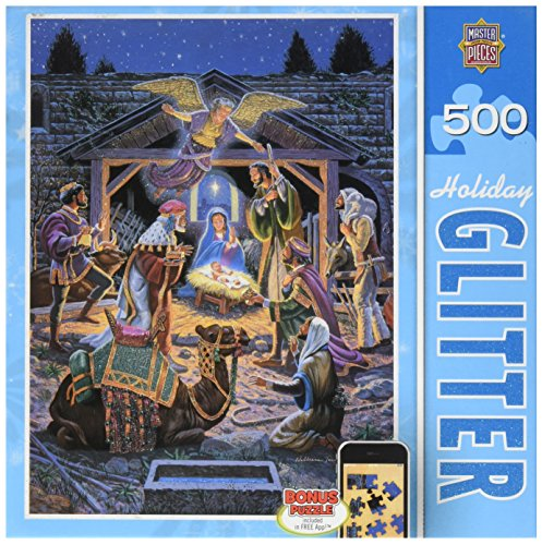 MasterPieces Holiday Glitter Holy Night Jigsaw Puzzle, 500-Piece