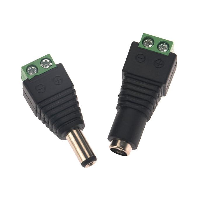 LEORX 2.1 * 5.5 mm macho y hembra DC Power Plug Jack adaptadores conectores para cámara CCTV dirigido tira luces: Amazon.es: Electrónica