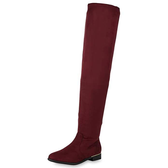 napoli-fashion Gefütterte Damen Schuhe Overknees Metallic Winter Stiefel Leder-Optik Burgund Metallic 38 Jennika TokR4IJM