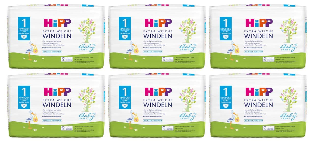 144 Windeln HiPP Babysanft Windeln Newborn Gr/ö/ße 1 im 2-Wochen-Pack