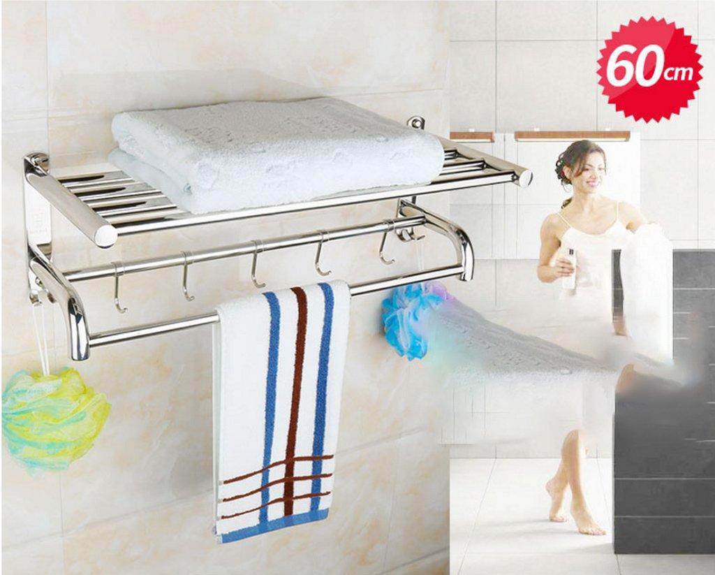 壁掛けのバスルームタオルラック 304ステンレス鋼のタオルラックタオルラックのバスルームホテルの浴室のハードウェアの付属品浴室の棚 (サイズ さいず : 60) B07F3B8RXL60