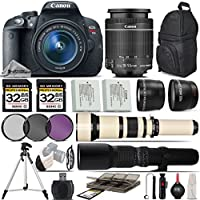Canon EOS Rebel T5i DSLR Camera + Canon 18-55mm IS STM Lens + 650-1300mm Zoom Lens + 500mm Telephoto Lens + 0.43X Wide Angle Lens + 2.2x Telephoto Lens + 64GB Storage - International Version