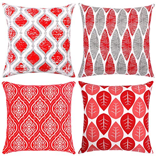 Isabella Beddings Decorative Throw Pillow Covers Modern Printed Cushion Cover 18 x 18 Inches Set of 4 Red