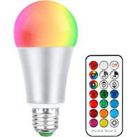 Colour Changing Light Bulbs 10W, RGB Warm White 2700K Led Light Bulb E27 Edison Screw 12 Colour Choices RGBW Dimmable with Remote Control, Color Changing Function, Night Light Ambient Illumination
